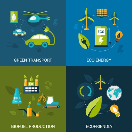 bio fuel: Bio fuel design concept set with green transport eco energy biofuel production flat icons isolated vector illustration