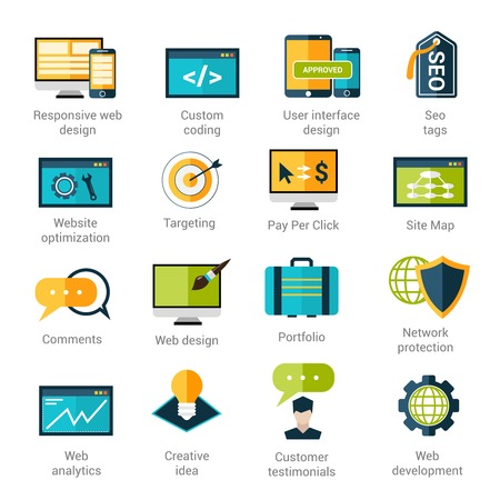 Web development icons set with responsive design custom coding seo tags isolated vector illustration
