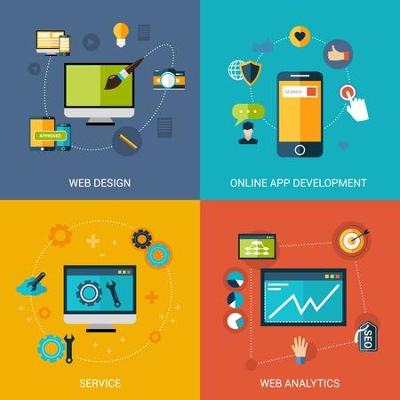 analytic: Desarrollo web Dise�o de concepto establece con aplicaciones en l�nea de servicios de an�lisis aislado ilustraci�n vectorial