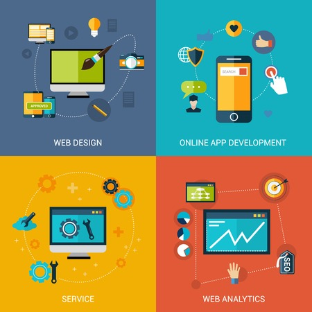 seo concept: Web development design concept set with online apps analytic service isolated vector illustration