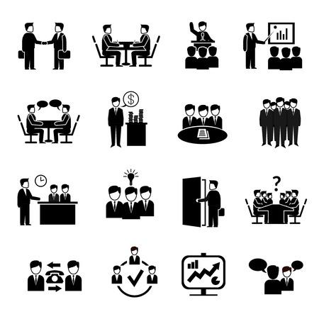 ビジネス人々 ディスカッション管理シンボル分離ベクトル図ブレーンストーミング会議アイコン セット  イラスト・ベクター素材