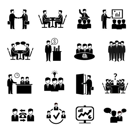 Meeting icons set with business people discussion management brainstorming symbols isolated vector illustration Vettoriali