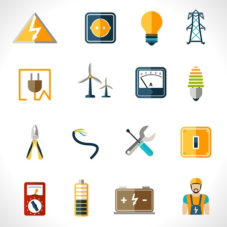 electrician: Electricity icons set with tester engineer socket electric power equipment isolated vector illustration