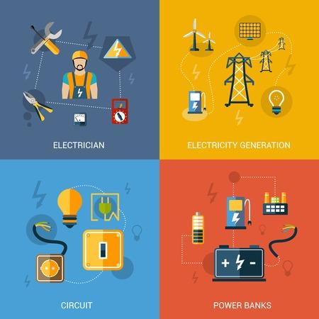 Electricidad concepto de diseño conjunto con bancos de potencia del circuito de generación de electricista iconos planos aislados ilustración vectorial
