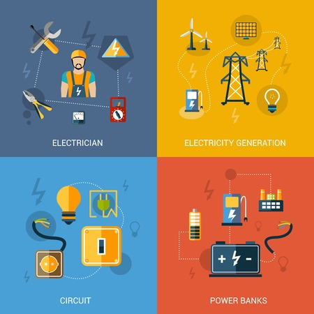 transmission line: Electricity design concept set with electrician generation circuit power banks flat icons isolated vector illustration Illustration