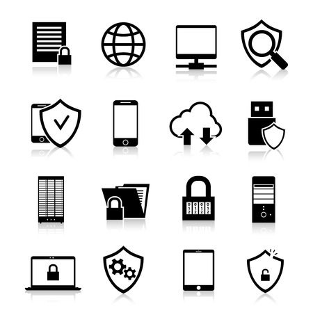 Data protection computer and web security technology black icons set isolated vector illustration Çizim