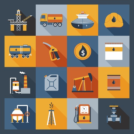 crude oil: Oil industry drilling gas terminal fuel canister icons flat set isolated vector illustration Illustration