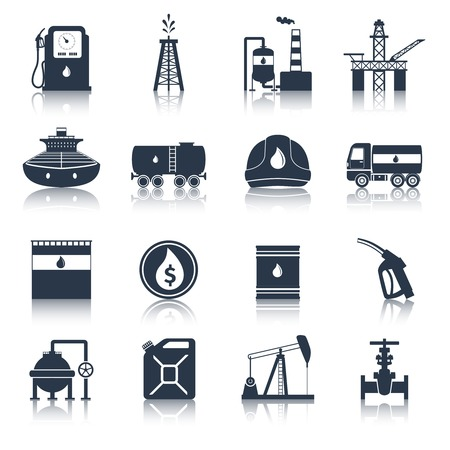 Oil industry diesel canister fuel tanker gas terminal icons black set isolated vector illustration