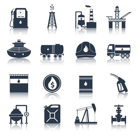 aceites: Iconos terminales industria petrolera bombona de gas combustible diesel petrolero negro conjunto aislado ilustraci�n vectorial Vectores