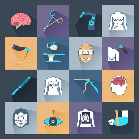 surgical operation: Surgery healthcare and plastic operation health care icons flat set isolated vector illustration