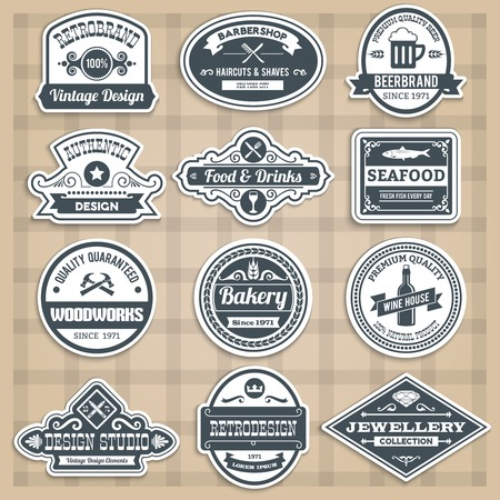 wine trade: Retro emblems set with food drinks barbershop and woodworks sticker isolated vector illustration Illustration