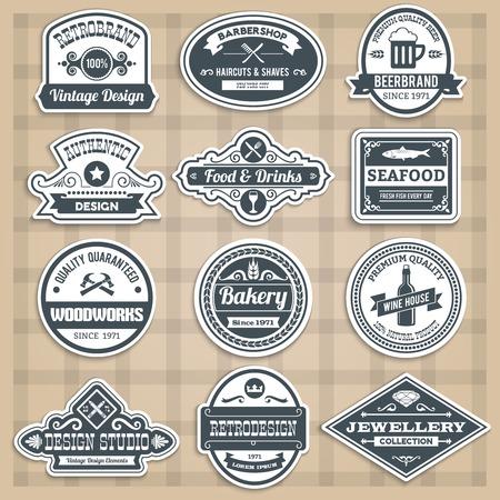 barbershop: Retro emblems set with food drinks barbershop and woodworks sticker isolated vector illustration Illustration