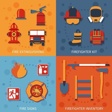 bombero de rojo: Bombero concepto de dise�o conjunto con signos de inventario de extinci�n de incendios iconos planos aislados ilustraci�n vectorial