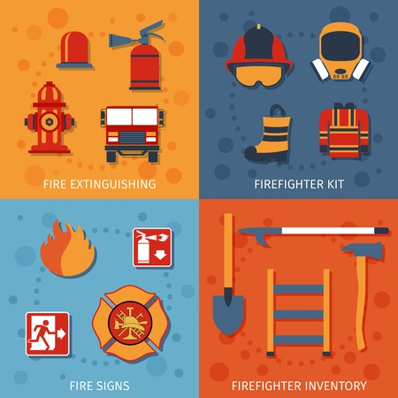 firefighter: Firefighter design concept set with fire extinguishing inventory signs flat icons isolated vector illustration