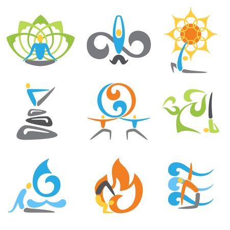 namaste: Yoga emblems religion spiritual and fitness practice elements set isolated vector illustration Illustration