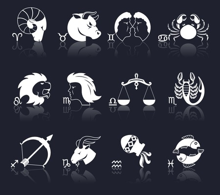 archer fish: Zodiac constellation astrology signs decorative icons white set isolated vector illustration