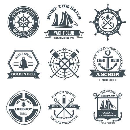 Nautical Label Meer und Ozean Yacht Reise schwarzen Embleme gesetzt isolierten Vektor-Illustration Standard-Bild - 35436173
