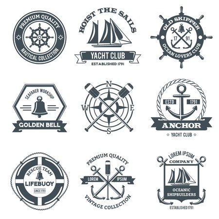 yacht: Nautical label sea and ocean yacht journey black emblems set isolated vector illustration