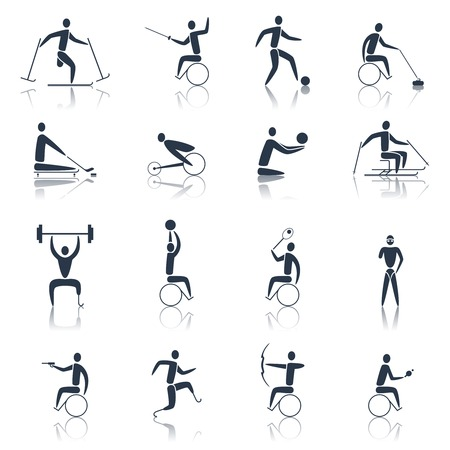 Disabled sports icons black set with handicapped athletes skiing cycling powerlifting isolated vector illustration
