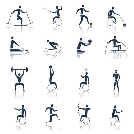 personas discapacitadas: Iconos de los deportes de movilidad conjunto negro con atletas discapacitados esquí ciclismo powerlifting ilustración vectorial aislado Vectores
