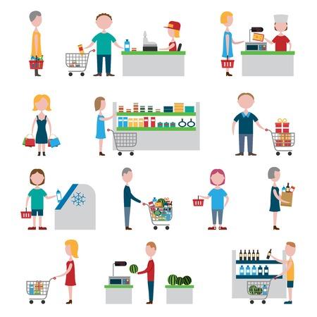 mujer en el supermercado: La gente en supermercado con carros de la compra y cestas conjunto aislado ilustración vectorial Vectores