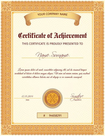 poster designs: Certificate document of achievement vertical template with seal ribbon and elegant ornament vector illustration
