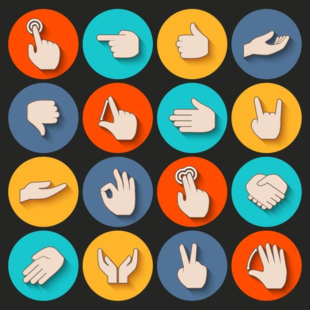 gesticulation: Human hands pointing holding showing gestures icons set isolated vector illustration