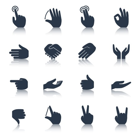in action: Human hands applause tap helping action gestures icons black set isolated vector illustration Illustration