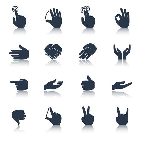 manos: Las manos humanas aplausos grifo ayudar gestos de acci�n iconos negro conjunto aislado ilustraci�n vectorial