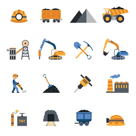 coal: Coal industry metallurgy mine equipment and machinery icons set isolated vector illustration