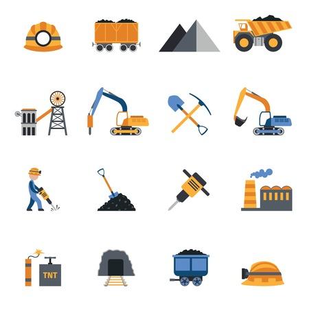 carbone: Industria miniera di carbone metallurgico di attrezzature e macchinari icons set illustrazione vettoriale isolato