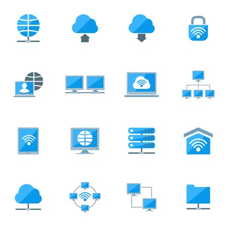 Network database configuration cloud server security icons set isolated vector illustration