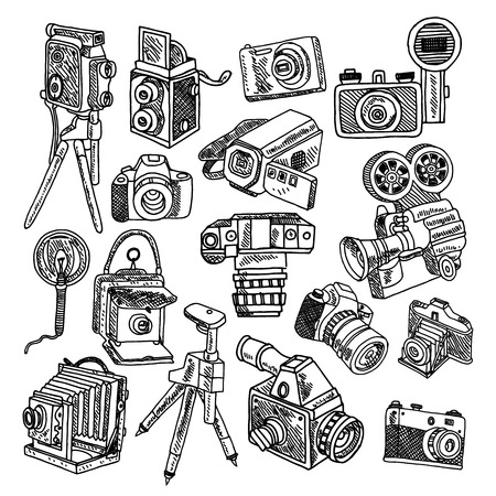 reflex camera: Photo and movie vintage hobby cameras with tripod and flashlight pictograms collection graphic doodle sketch vector illustration