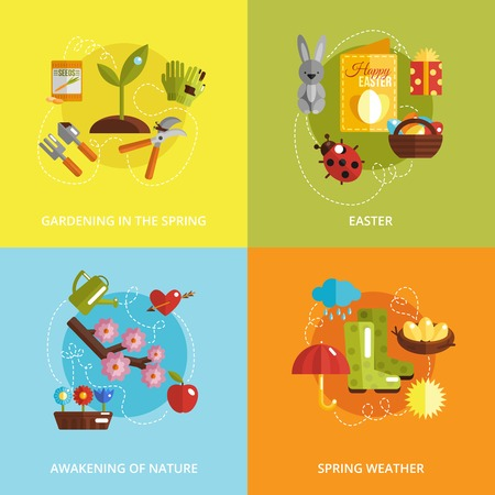 awakening: Spring design concept set with gardening easter awakening of nature and weather flat icons isolated vector illustration