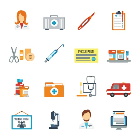 cure: Doctor first aid icon flat set with pills thermometer syringe isolated vector illustration