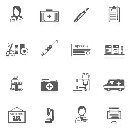 specialists: Doctor black icon set with healthcare service medical specialists elements isolated vector illustration Illustration