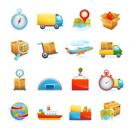 cargo vessel: Global freight transportation logistics flat icons set with cargo vessel containers delivery service abstract isolated vector illustration