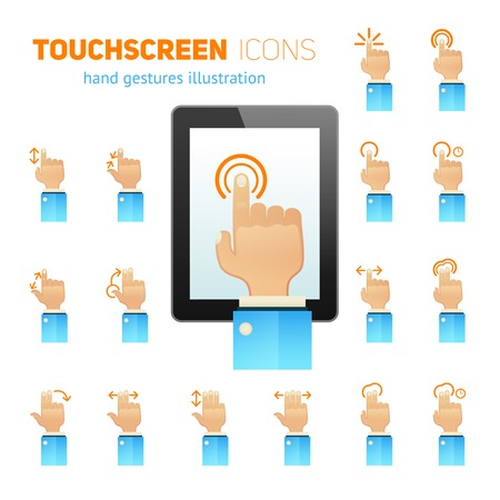 user friendly: Mobile tablet touch screen hand gestures user friendly symbols flat icons collection abstract isolated vector illustration Illustration