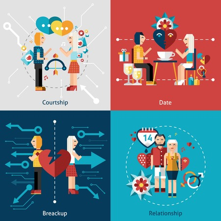 breakup: Dating flat icon set with courtship relationship breakup isolated vector illustration