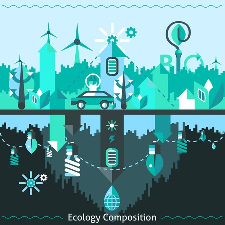 waste disposal: Ecology and recycling composition with alternative energy clean waste disposal icons vector illustration