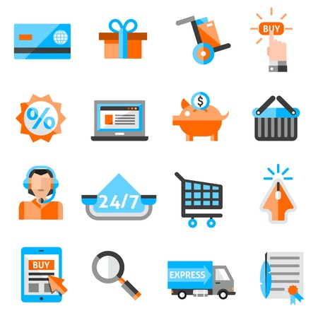 bank cart: E-commerce online store retail and delivery service icons set isolated vector illustration