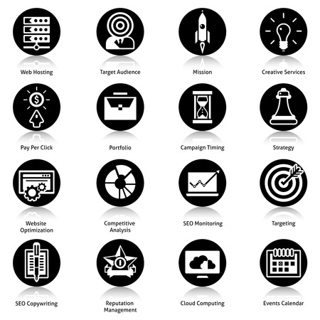 timing: Seo icons black set with web hosting target audience mission creative services isolated vector illustration