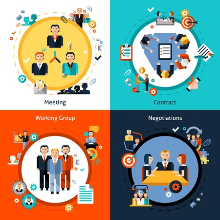 business contract: Business meeting design concept set with meeting contract working group negotiations flat icons isolated vector illustration