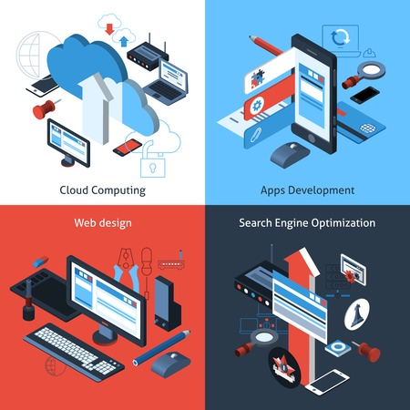 cloud search engine: Computer and web design concept set with cloud computing apps development search engine optimization isometric icons vector illustration