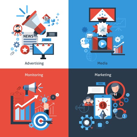 direct marketing: Advertising marketing design concept set with media monitoring flat icons isolated vector illustration