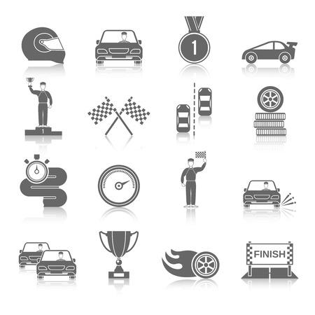 bandera carrera: Iconos negros deportivos Auto establecen con aislados taza indicador de inicio de la rueda de fuego ilustraci�n vectorial