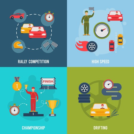 drifting: Auto sport flat icons set with rally competition high speed championship drifting isolated vector illustration
