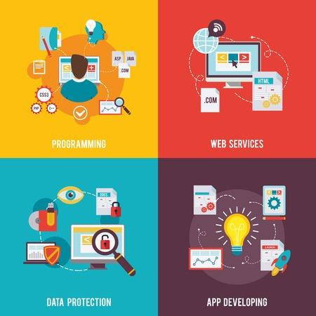 Programmeur icon flat set met geïsoleerde bescherming van web services gegevens app ontwikkeling vectorillustratie