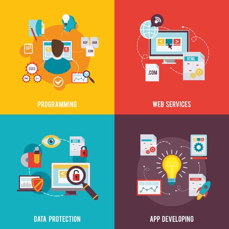 Programmer icon flat set with web services data protection app development isolated vector illustration Illustration
