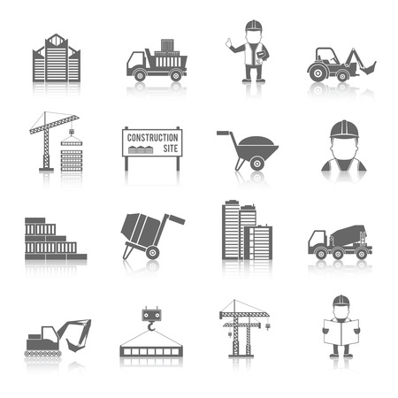 cement mixer: Construction black icons set with truck crane and workers isolated vector illustration Illustration